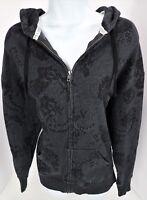 XS PINK Victoria's Secret Black Faux Lace Full Zip Hoodie Warm up Jacket