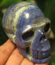 11.8OZ Fantastic Natural Lapis Lazuli Crystal Carving Art Skull Gift