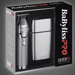 BaByliss Silver FX Cordless Skeleton Trimmer & Double Foil Shaver Set FXHOLPK2S