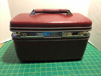 Samsonite Makeup Hard Train Case Burgundy Luggage Sewing NO KEYS