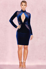 HOUSE OF CB 'Davila' Midnight Blue Velvet and Mesh Dress S 8 / 10 SG 079
