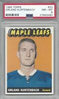 1965 Topps hockey card #20 Orland Kurtenbach Toronto Maple Leafs graded PSA 8
