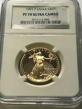 NGC 1991 P AMERICAN GOLD EAGLE $25 1/2 OZ. PF70 ULTRA CAMEO