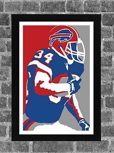 Buffalo Bills Thurman Thomas Portrait Sports Print Art 11x17