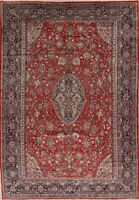 "Vintage Rug Floral Hand-Knotted Wool RED and BLUE 12' 7"" x 8' 9"""