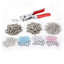 100 Pcs DIY Prong Ring Press Studs Snap Popper Fasteners 9.5mm 4 Colours+ Pliers