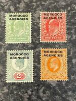 MOROCCO AGENCIES POSTAGE & REVENUE STAMPS SG31-33, 35 LIGHTLY-MOUNTED MINT