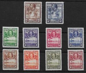 (16) Sierra Leone 1932 Pictorials SG155-165 Mint Cat£48 (10v)