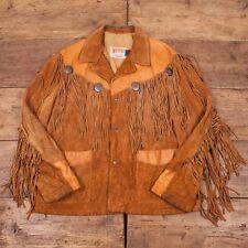 "Da Uomo Vintage 1970s Schott in pelle scamosciata Tassled Giacca Western Taglia L 46"" r2851"