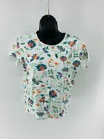 White Stag Tee Women's Top Shirt Floral Short Sleeve Scoop Neck Cotton Size S