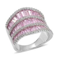 Simulated Pink Sapphire, Simulated White Diamond Silvertone Ring Gift Cttw
