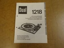 OPERATING INSTRUCTIONS FOR TURNTABLE DUAL 1218