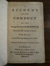 An Account of the Conduct of the Dowager Duchess of Marlborough 1742 Hooke EO