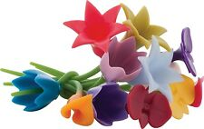 Trudeau Duo Tone Silicone Floral / Flower Wine Charms - Set of 12