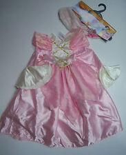 NWT Disney Store 6 6X Deluxe Pink Princess Aurora Costume Dress Faux Fur Capelet