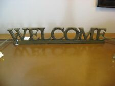 "14 1/2"" WELCOME RESIN SIGN Burgandy Red Rustic Design"