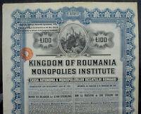 Romania 7% 100 £ Loan Monopolies Institute 1929 unc. coupons pr, Watelow & Sons