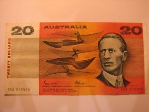 1988 General Prefix Gothic Johnston/Fraser $20 banknote EKA series.