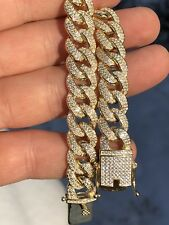 Mens Miami Cuban Link Bracelet 14k Gold Over Solid 925 Silver 12ct Diamonds 12mm