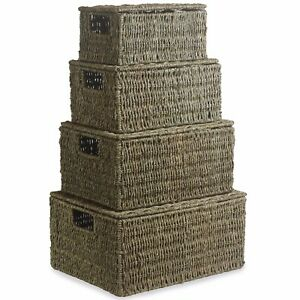 SEAGRASS WIRED LIDDED STORAGE GIFT HOME KITCHEN BASKETS HAMPERS IN FOUR SIZES