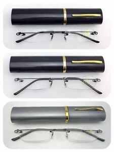 L63 Superb Quality Rimless Reading Glasses Flexible steel arms & Aluminum Case
