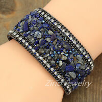 Handmade Crystal Chain Natural Stone Wrap Leather Wide Bangle Cuff Bracelet