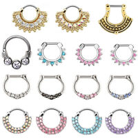 7-STYLES SEPTUM CLICKER PRINCESS CZ NOSE RING 16 GAUGE SEPTUM RING-NOSE RING