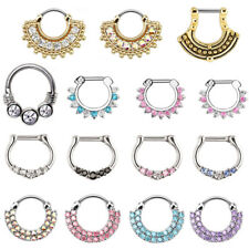Surgical Steel Clicker Round Nose Rings 16g 1Pc Double Line Cz Gem Septum Ring