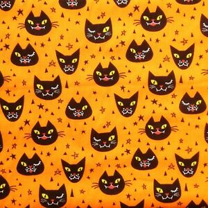HALLOWEEN SCARY CAT ORANGE Polycotton Fabric Craft Metre Material Special Offer