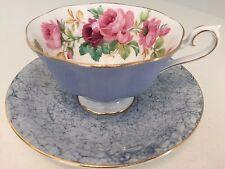 ROYAL ALBERT TEA CUP & SAUCER Vintage China BLUE HARLEQUIN & Pink Roses Mismatch