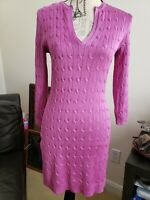 Ralph Lauren Black Label 100% Silk Cable Knit Sweater Tunic Dress Purple Medium