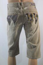 New Men's Robin's Jean Long Flap SZ 32 studs & Swarovski Shorts Beige USA