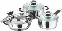 3 Pcs Stainless Steel Cookware Set Saucepan Wok & Stockpot Glass Lid Induction