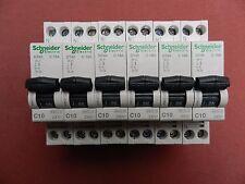 Réf A9N21024 LOT 6 DISJONCTEURS SCHNEIDER CLARIO DT40 1P+N 10A COURBE C 230 V