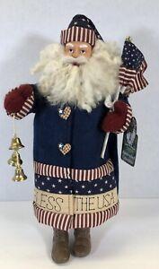 "Christmas Santas Workshop Handcrafted Collectibles Bless The USA Santa 16"" Tall"