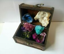 TREASURE CHEST CONTAINS DYED AND NATURAL SELENITE CRYSTAL PIECES Gift FUN