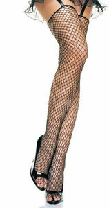 Black Fishnet Thigh Highs with Unfinished Top Leg Avenue 9040 Top Quality