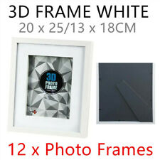 12 x White Modern 3D Photo Frame 20x25CM MDF Stand Deep Arts Picture Desk Table