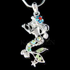 w Swarovski Crystal ~Green Mermaid~ Sea Nymph Starfish Red Floral Charm Necklace