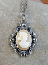"""Antique Atlas Sterling Silver Carved Shell Cameo Lady Pendant 19"""" Necklace #204"""