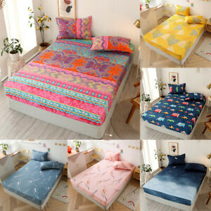 30cm Deep Fitted Sheet Single Double Super King Bed Size Printed Mattress Cover