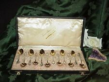 Set 12 800 Sterling Bormann Demi Desert Spoon set Gold Wash Presentation Box