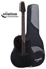 Ovation Elite TX 2058TX-5 12-String Acoustic-Electric Guitar - Black w/ Case