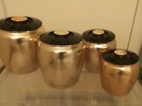 Vintage CANISTER SET Kromex Spun Aluminum Copper Tone 4 Piece
