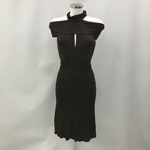 Gucci High Neck Dress UK 8 IT 40 Brown Keyhole Tie Detail Occasion Party 032801