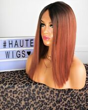 """16"""" SHORT BOB AUBURN BROWN OMBRE WIG DARK ROOTS HUMAN HAIR LACE FRONT"""