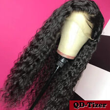 Long Black Curly Wave Hair Synthetic Lace Front Wigs Heat Resistant Pre Plucked