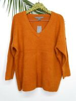 NWT French Connection Women's Flossy V-Neck Knit Pullover Tunic Orange Size M