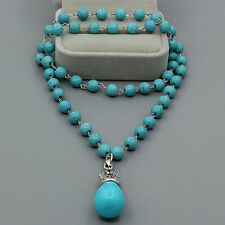 Natural Blue Turquoise Tibetan Silver Waterdrop pendant Round Beads Necklace