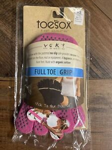 New TOESOX Women's Men's ANKLE Full Toe Grip Toe Socks (HOT PINK) Extra Small